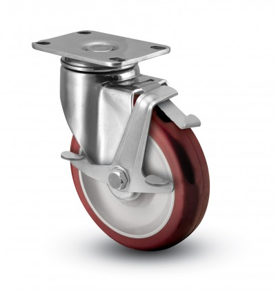 Stainless Steel Top Plate Caster with Side Pedal Top Lock Brake