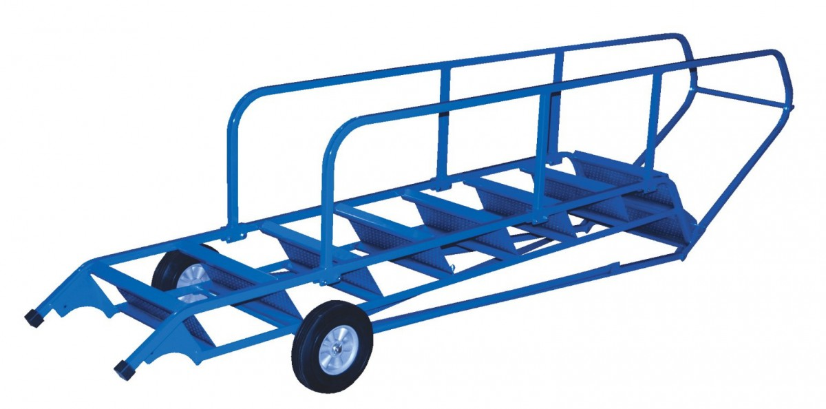 Rolling ladders rolling stairways step stools for Folding stairs