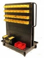 Plastic Storage Bins on Cart