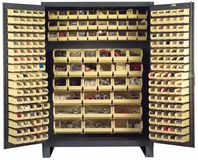 Customized Cabinet With Storage Bins And Totes